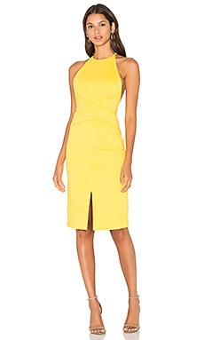 Lavish Alice Wrap Front Plunge Back Detail Mini Dress in Yellow