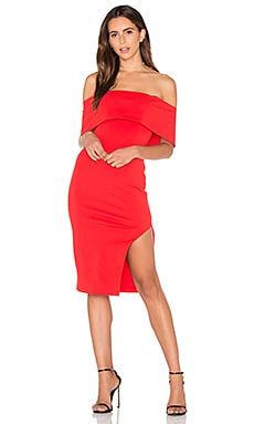 Lavish Alice Deep Bandeau Asymmetric Hem Midi Dress in Red