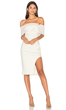 Lavish Alice Deep Bandeau Asymmetric Hem Midi Dress in White