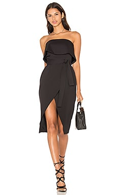Lavish Alice Bandeau Cropped Tie Front Midi Dress in Black