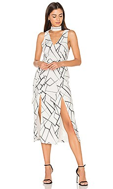 Monochrome Cracked Midi Dress