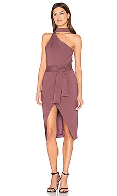 Asymmetric Dress in Mauve Wine