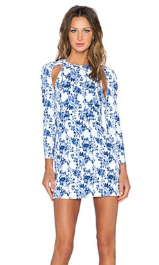 Lavish Alice Long Sleeve Mini Dress in Blue & White