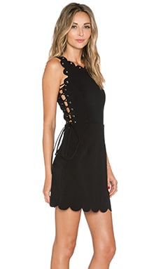 Lavish Alice Scallop Lace Up Mini Dress in Black