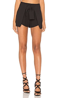 Lavish Alice Tie Front Side Split Short in Black