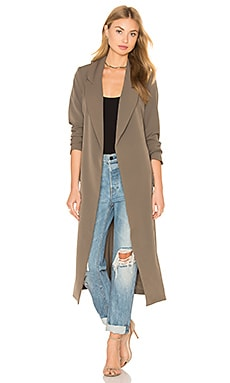 Cargo Pocket & D Ring Belt Utility Duster Jacket in Khaki