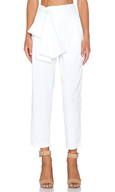 Lavish Alice Tie Front High Waist Pant in White
