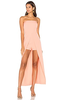 Lavish Alice Bandeau Maxi Overlay Playsuit in Coral