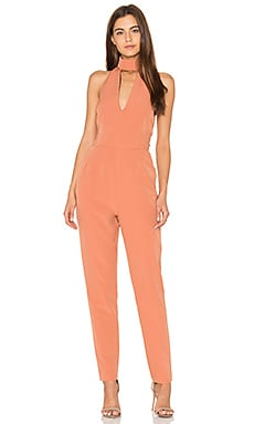 Keyhole High Neck Jumpsuit in Tan Brown