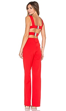 Lavish Alice Harness Strap Wide Leg Jumpsuit in Red