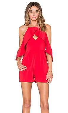 Lavish Alice Open Sleeve Structured Romper in Red