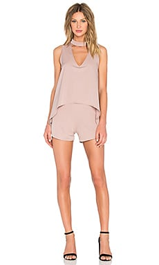 Lavish Alice High Neck Drape Romper in Mink