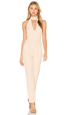Lavish Alice Keyhole High Neck Deep Plunge Jumpsuit in Nude