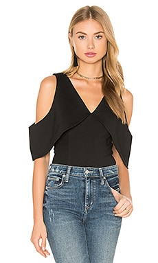 Lavish Alice Plunge Open Sleeve Thong Bodysuit in Black