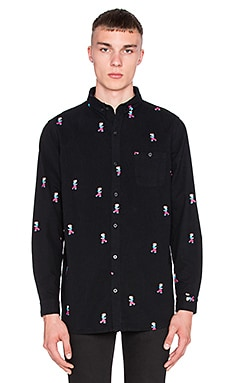 Lazy Oaf Tiny Guy Button Down in Black
