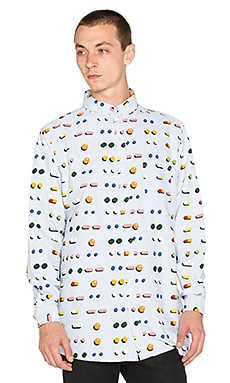 Lazy Oaf Medicated Button Down in Blue