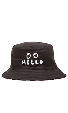 Lazy Oaf Hello Bucket Hat in Black