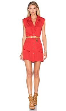 L'Academie The Sleeveless Shirt Dress in Red Clay