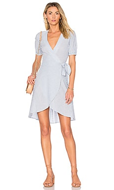 x REVOLVE The Hi-Low Wrap Dress in Blue Ladder Stripe