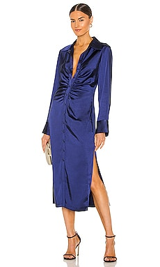 Button Up Midi Shirt Dress With Shirring L'Academie $228
