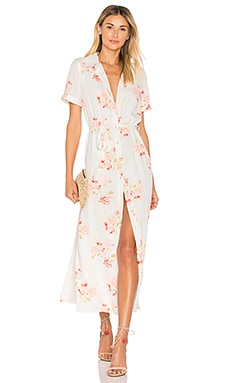 The Maxi Shirt Dress in Peach Floral