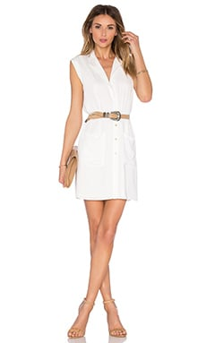 L'Academie The Sleeveless Shirt Dress in Ivory