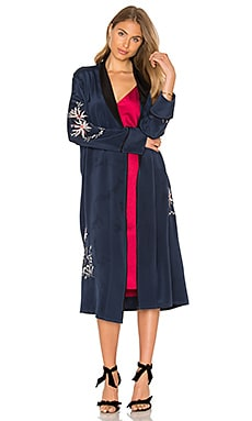 L'Academie x REVOLVE The Silk Robe in Navy