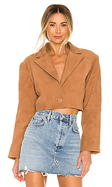 Ansley Cropped Leather Jacket L'Academie $120
