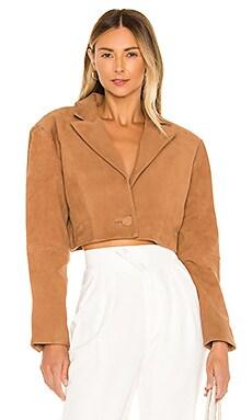 Ansley Cropped Leather Jacket L'Academie $398