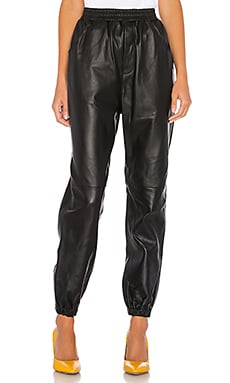 Tracey Leather Joggers L'Academie $450