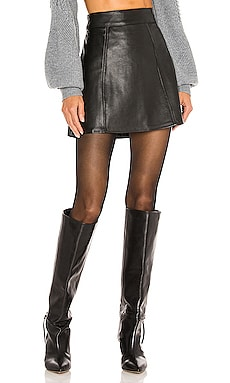 Laurel Leather Mini Skirt L'Academie $268