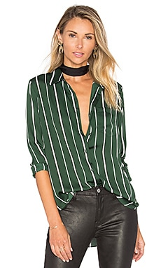 L'Academie The Classic Blouse in Green Stripe