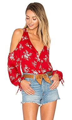 The V-Neck Shoulder Blouse en Imprimé Fleurs Rouge
