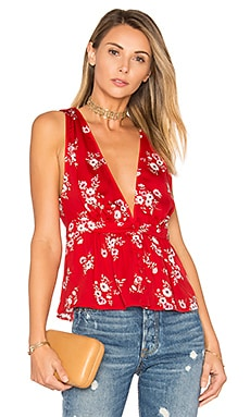 The Peplum Top in Red Floral