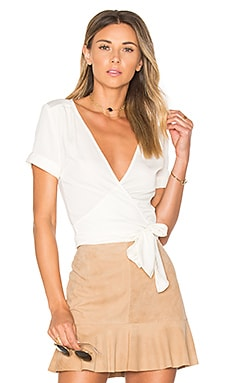 The Short Sleeve Wrap Blouse in Ivory