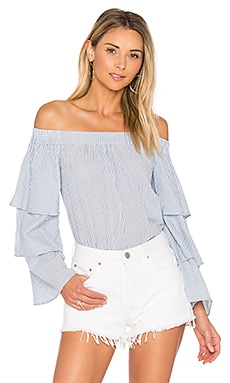 x REVOLVE The Layered Off Shoulder in Blue Ladder Stripe