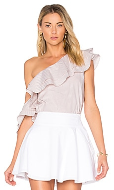 x REVOLVE The Asymmetric Ruffle Blouse in Beige Stripe