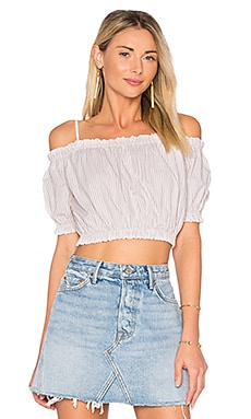 x REVOLVE The Ruffle Crop Top in Beige Stripe