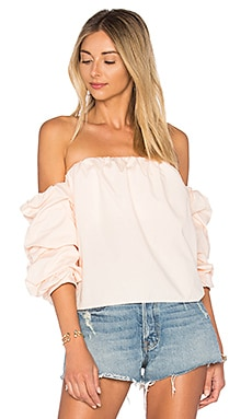 x REVOLVE The Puff Sleeve Blouse in Peach