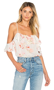 The Off Shoulder Bodysuit in Peach Floral