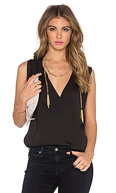 L'Academie The Wrap Blouse in Black
