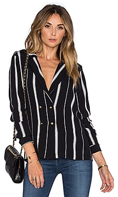 x REVOLVE The Military Blouse in Beige Stripe