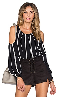 x REVOLVE The Shoulder Blouse in Beige Stripe
