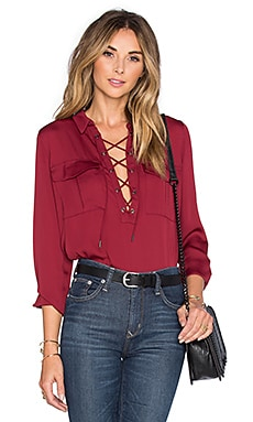 L'Academie x REVOLVE The Safari Blouse in Maroon