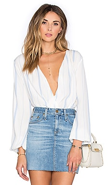 L'Academie x REVOLVE The Wrap Blouse in Blue Stripe