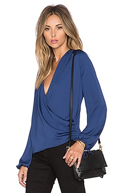 L'Academie The Wrap Blouse in Navy