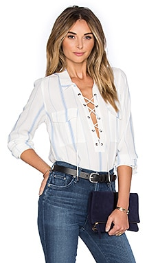 x REVOLVE The Safari Blouse in Blue Stripe