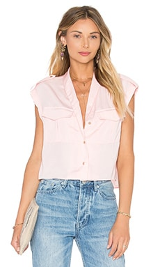 The Safari Crop Top Blouse in Blush