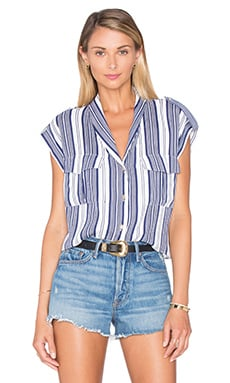 The Safari Crop Top Blouse en Rayures Marines