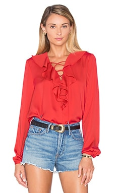 L'Academie The Ruffle Boho Blouse in Red Clay